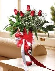 Camda 5 kırmızı gül tanzimi  Ağrı çiçekçi telefonları