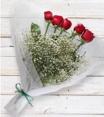 5 kırmızı gülden sade buket  Ağrı çiçek yolla