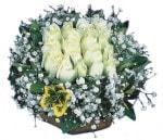 Ağrı çiçekçiler  Beyaz harika bir gül sepeti