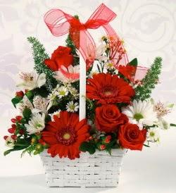 Karışık rengarenk mevsim çiçek sepeti  Ağrı internetten çiçek siparişi