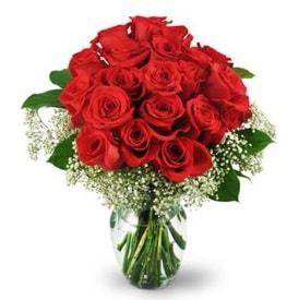 25 adet kırmızı gül cam vazoda  Ağrı çiçek , çiçekçi , çiçekçilik