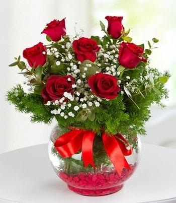 fanus Vazoda 7 Gül  Ağrı çiçek , çiçekçi , çiçekçilik
