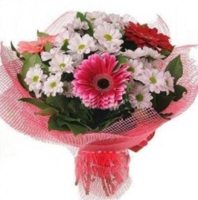 Gerbera ve kır çiçekleri buketi  Ağrı internetten çiçek siparişi