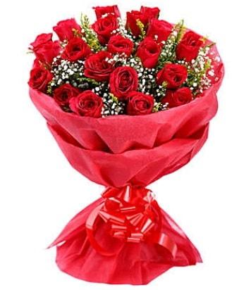 21 adet kırmızı gülden modern buket  Ağrı çiçek gönderme