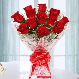 11 adet kırmızı gülden görsel şık buket  Ağrı ucuz çiçek gönder
