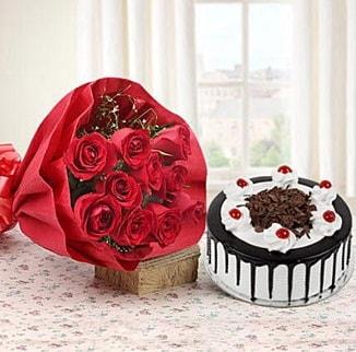 12 adet kırmızı gül 4 kişilik yaş pasta  Ağrı çiçek , çiçekçi , çiçekçilik