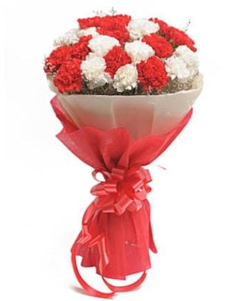 21 adet kırmızı beyaz karanfil buketi  Ağrı çiçek satışı