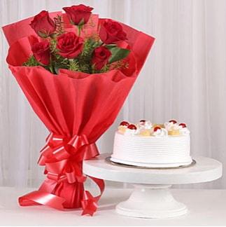 6 Kırmızı gül ve 4 kişilik yaş pasta  Ağrı çiçek , çiçekçi , çiçekçilik