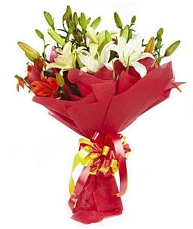 5 dal kazanlanka lilyum buketi  Ağrı çiçek gönderme sitemiz güvenlidir