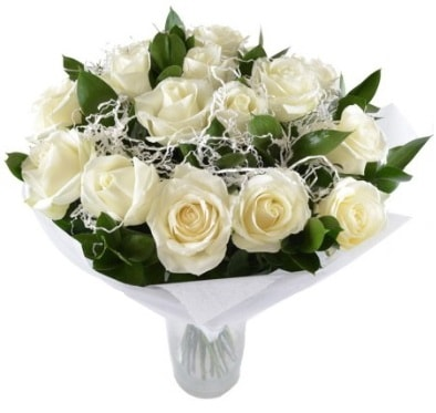 15 beyaz gül buketi sade aşk  Ağrı çiçek satışı