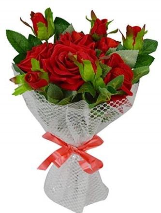 9 adet kırmızı gülden sade şık buket  Ağrı çiçekçi telefonları