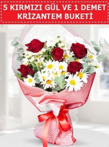 5 adet kırmızı gül ve krizantem buketi  Ağrı çiçek satışı