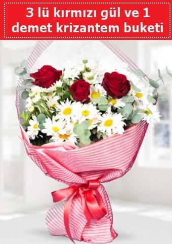 3 adet kırmızı gül ve krizantem buketi  Ağrı çiçek gönderme sitemiz güvenlidir