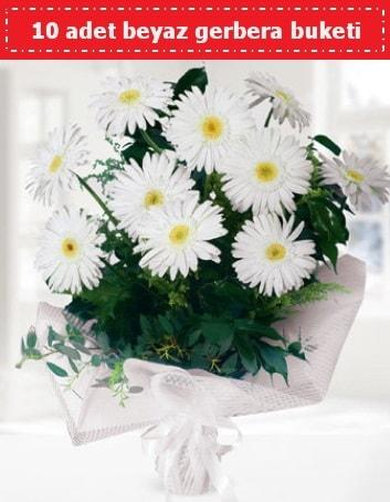 10 Adet beyaz gerbera buketi  Ağrı çiçek , çiçekçi , çiçekçilik