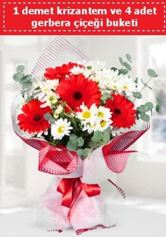 Krizantem ve Gerbera Buketi  Ağrı çiçek siparişi sitesi