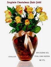 Ağrı internetten çiçek satışı  mika yada Cam vazoda 12 adet sari gül